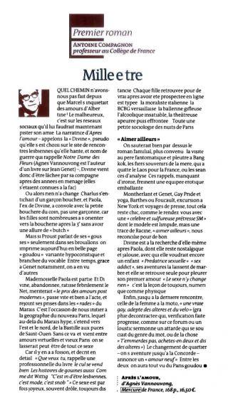 Le Monde des Livres, octobre 2013